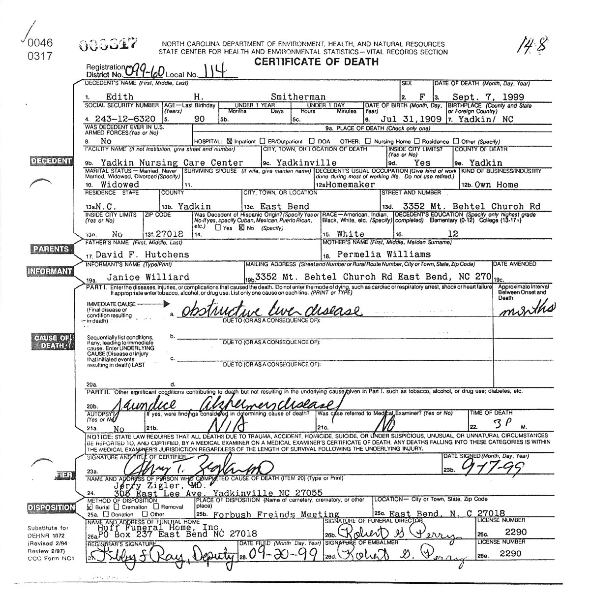 hutchins death records 1935 to 1950